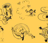Illustrations on Yellow Background