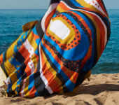 Beach towel blowing in wind